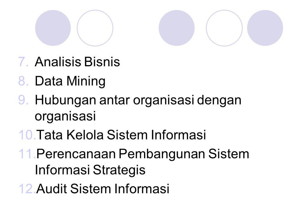 Analisis Bisnis Data Mining. Hubungan antar organisasi dengan organisasi. Tata Kelola Sistem Informasi.