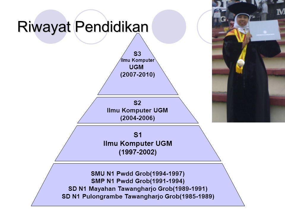 Riwayat Pendidikan S1 Ilmu Komputer UGM (1997-2002) S3 UGM (2007-2010)