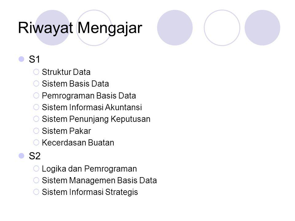 Riwayat Mengajar S1 S2 Struktur Data Sistem Basis Data