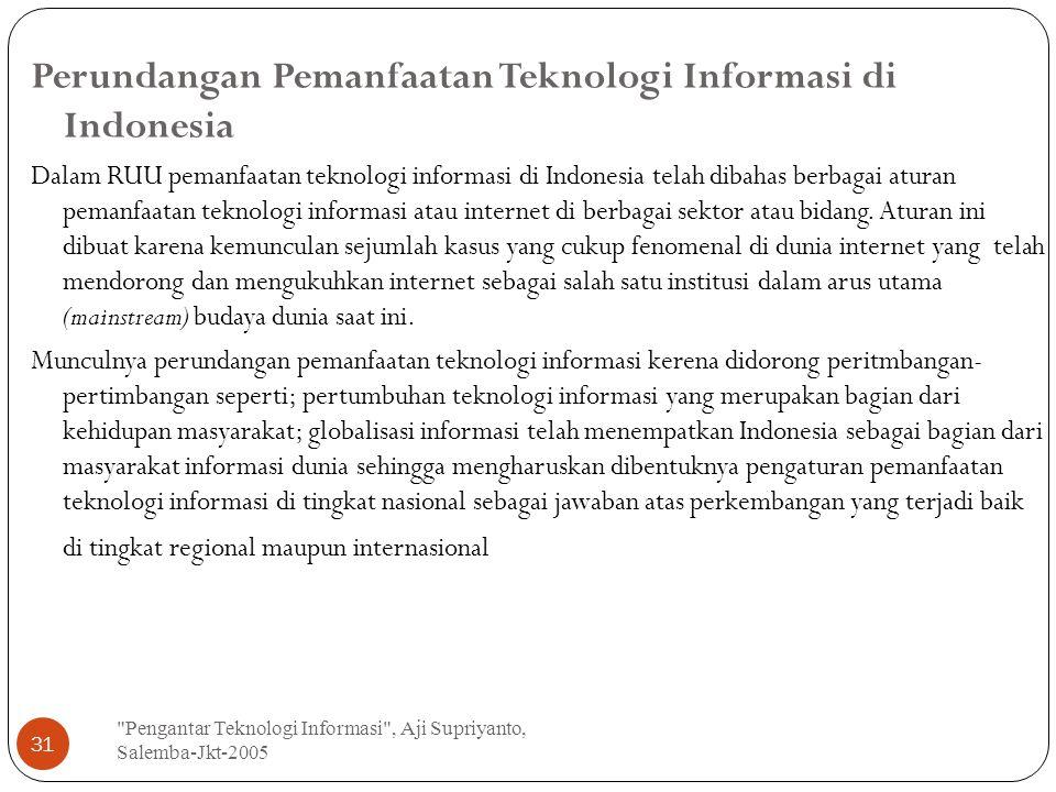 Perundangan Pemanfaatan Teknologi Informasi di Indonesia