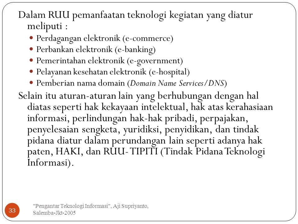 Dalam RUU pemanfaatan teknologi kegiatan yang diatur meliputi :