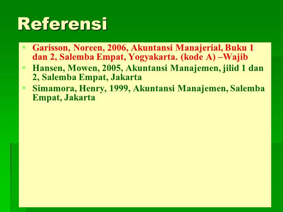 Referensi Garisson, Noreen, 2006, Akuntansi Manajerial, Buku 1 dan 2, Salemba Empat, Yogyakarta. (kode A) –Wajib.