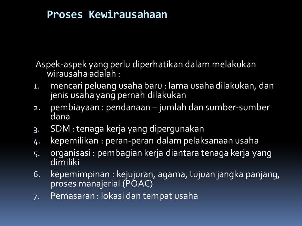 Proses Kewirausahaan Aspek-aspek yang perlu diperhatikan dalam melakukan wirausaha adalah :