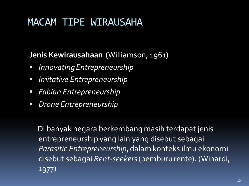MACAM TIPE WIRAUSAHA Jenis Kewirausahaan (Williamson, 1961)