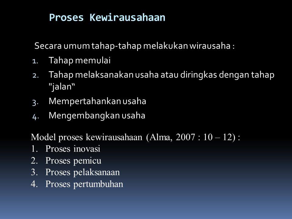 Proses Kewirausahaan Secara umum tahap-tahap melakukan wirausaha :