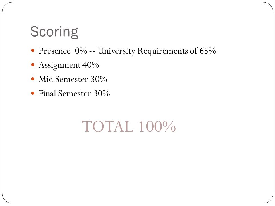 Scoring Presence 0% -- University Requirements of 65% Assignment 40%