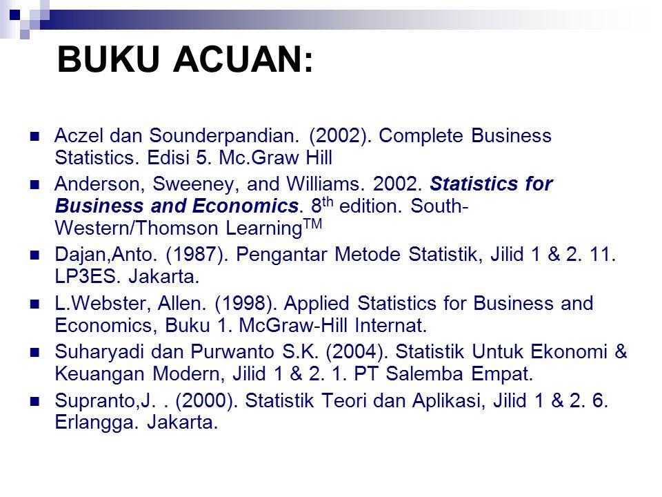 BUKU ACUAN: Aczel dan Sounderpandian. (2002). Complete Business Statistics. Edisi 5. Mc.Graw Hill.