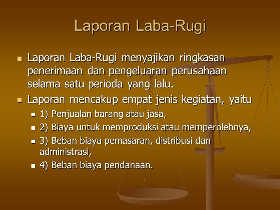 Laporan Laba-Rugi Laporan Laba-Rugi menyajikan ringkasan penerimaan dan pengeluaran perusahaan selama satu perioda yang lalu.