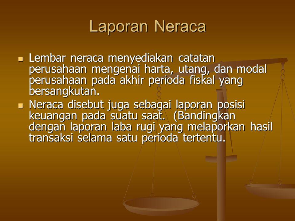 Laporan Neraca Lembar neraca menyediakan catatan perusahaan mengenai harta, utang, dan modal perusahaan pada akhir perioda fiskal yang bersangkutan.