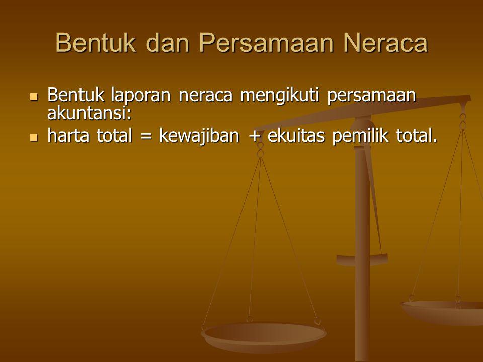 Bentuk dan Persamaan Neraca