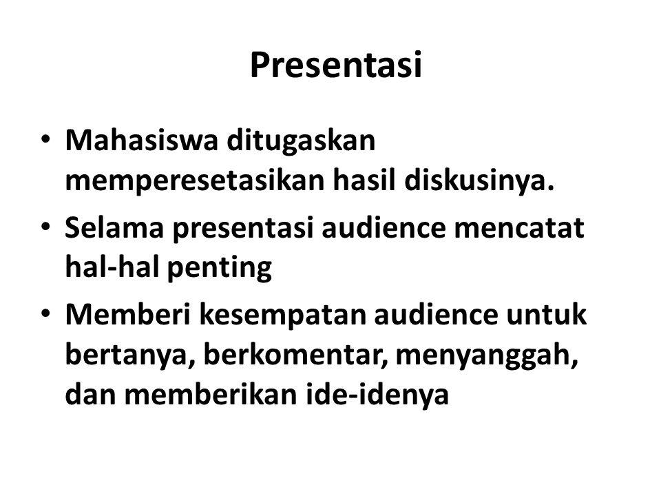 Presentasi Mahasiswa ditugaskan memperesetasikan hasil diskusinya.