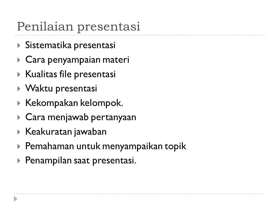 Penilaian presentasi Sistematika presentasi Cara penyampaian materi