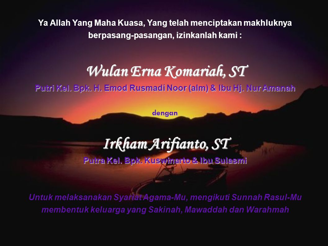 Wulan Erna Komariah, ST Irkham Arifianto, ST