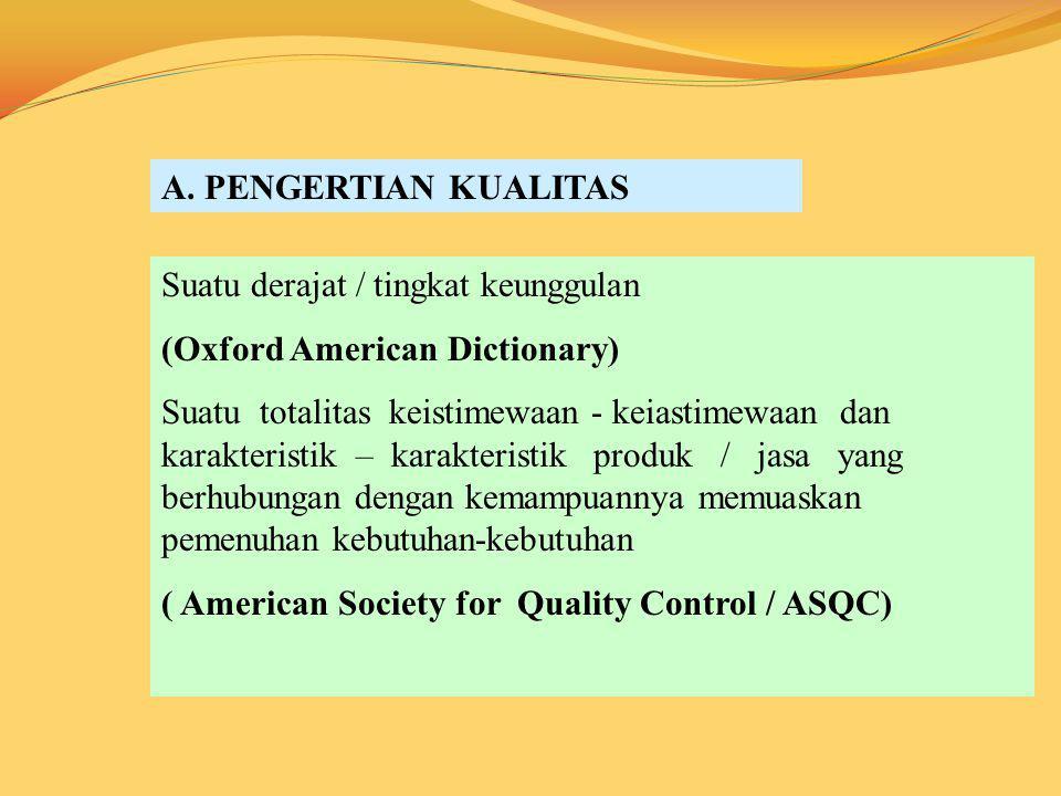 A. PENGERTIAN KUALITAS Suatu derajat / tingkat keunggulan. (Oxford American Dictionary)