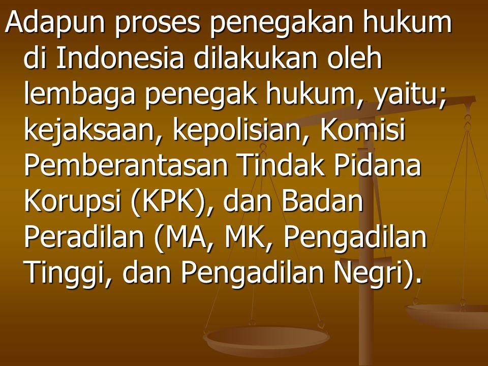 Adapun proses penegakan hukum di Indonesia dilakukan oleh lembaga penegak hukum, yaitu; kejaksaan, kepolisian, Komisi Pemberantasan Tindak Pidana Korupsi (KPK), dan Badan Peradilan (MA, MK, Pengadilan Tinggi, dan Pengadilan Negri).