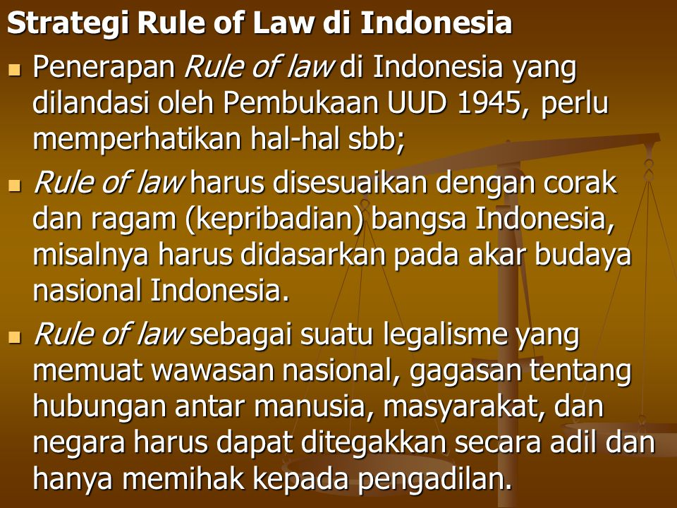 Strategi Rule of Law di Indonesia