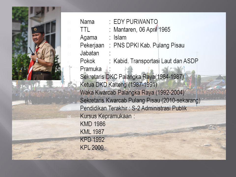 Nama : EDY PURWANTO TTL : Mantaren, 06 April 1965. Agama : Islam. Pekerjaan : PNS DPKI Kab. Pulang Pisau.