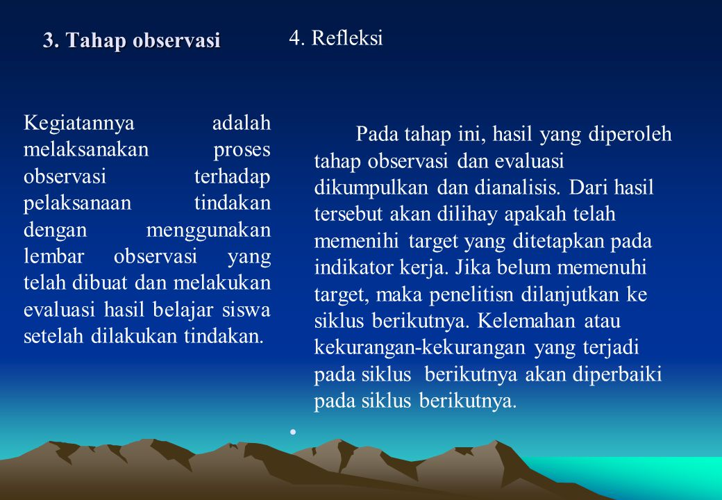 3. Tahap observasi 4. Refleksi.