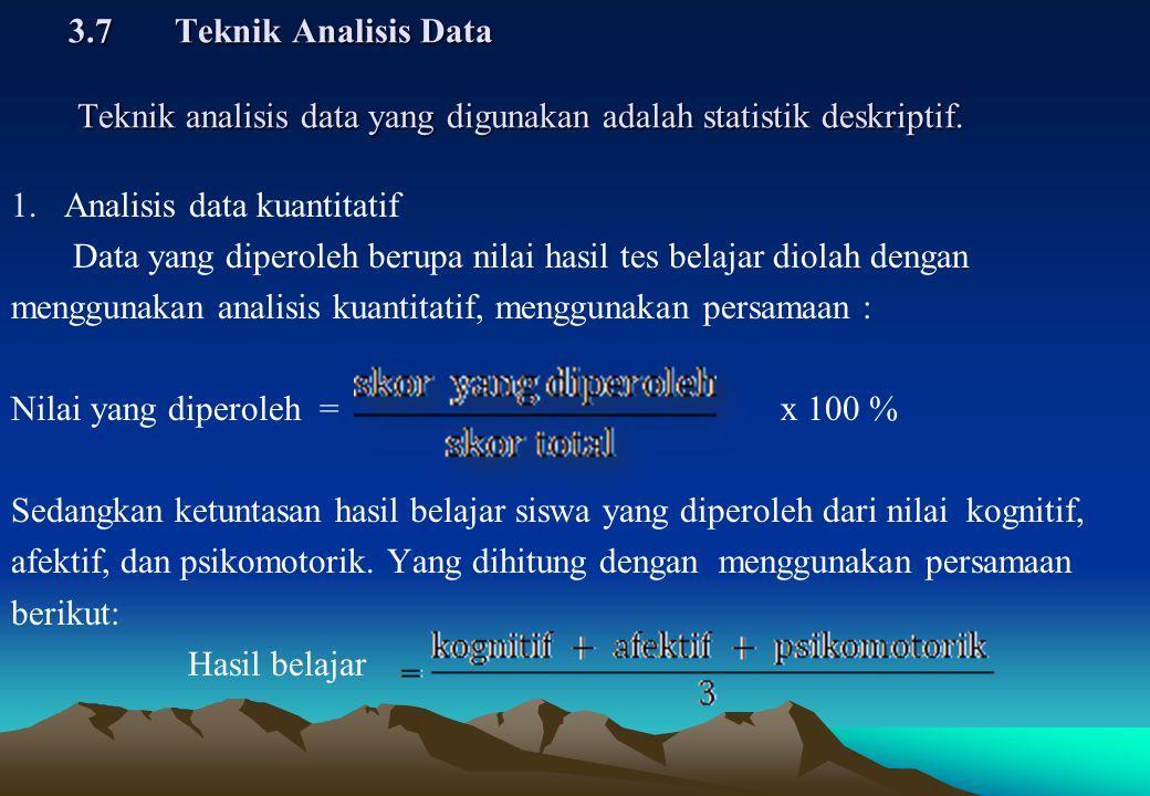3.7 Teknik Analisis Data Teknik analisis data yang digunakan adalah statistik deskriptif.