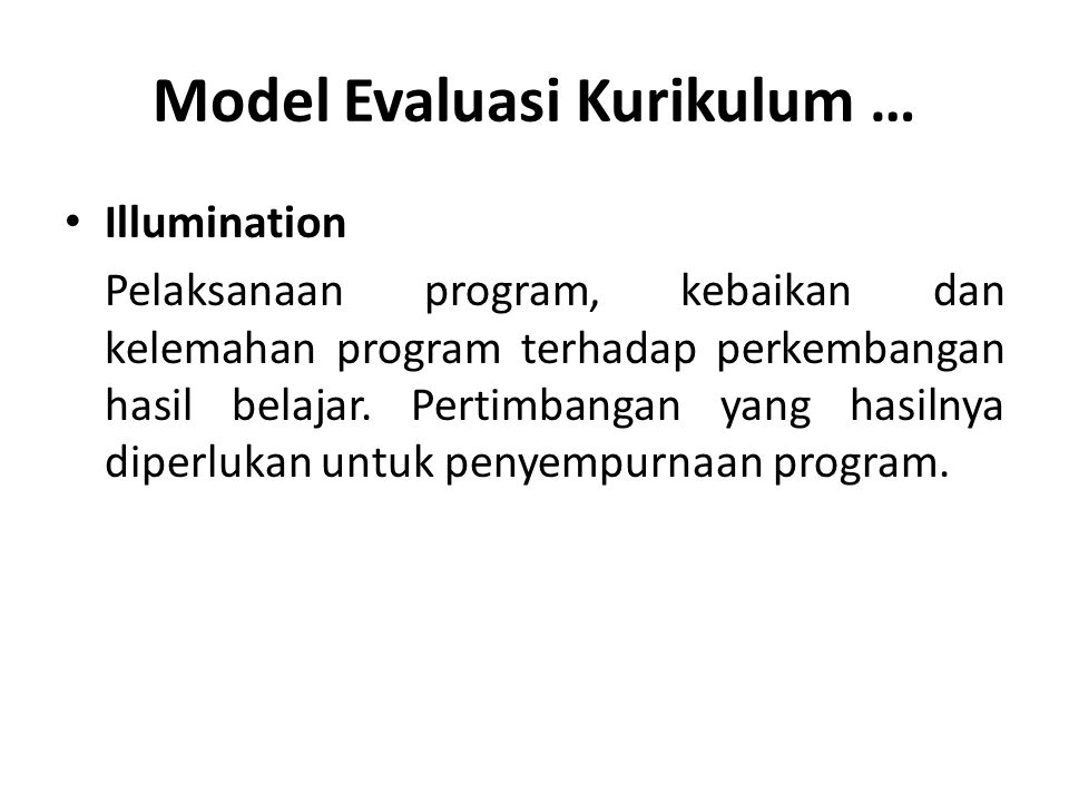Model Evaluasi Kurikulum …