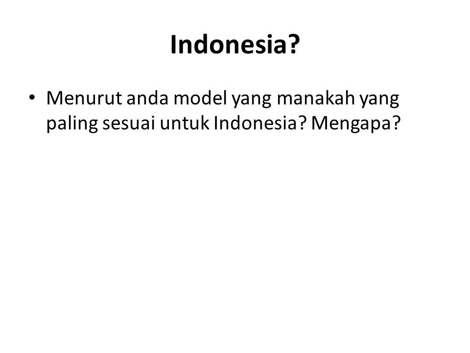 Indonesia Menurut anda model yang manakah yang paling sesuai untuk Indonesia Mengapa