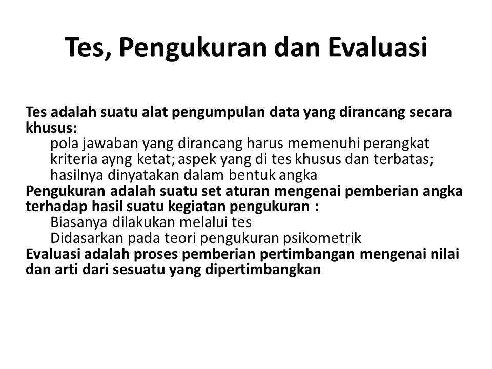 Tes, Pengukuran dan Evaluasi