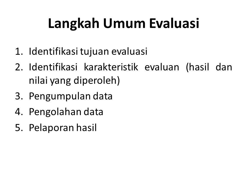 Langkah Umum Evaluasi Identifikasi tujuan evaluasi