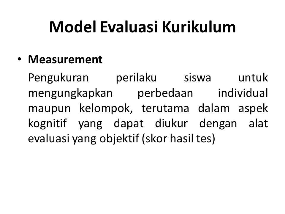 Model Evaluasi Kurikulum