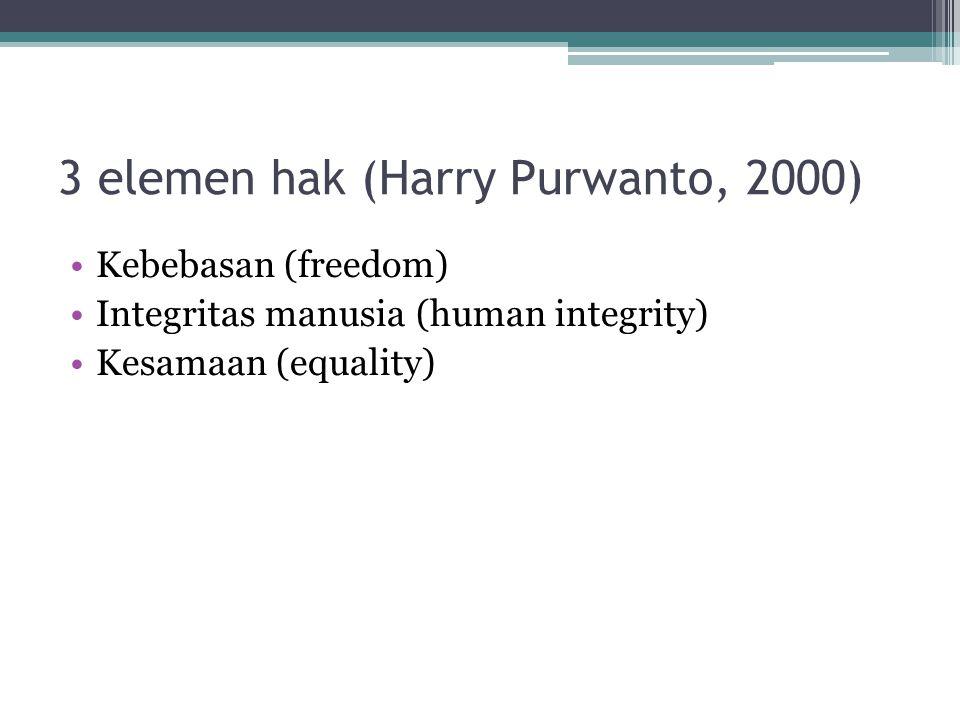 3 elemen hak (Harry Purwanto, 2000)