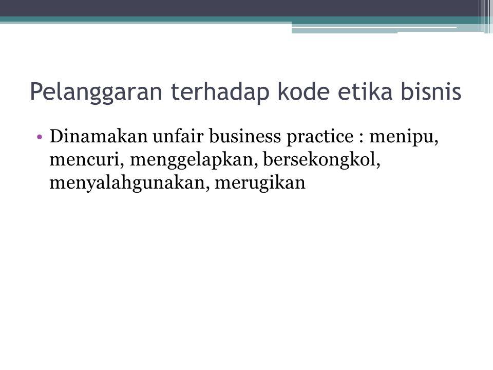 Pelanggaran terhadap kode etika bisnis