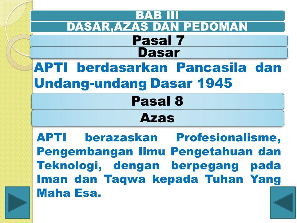 APTI berdasarkan Pancasila dan Undang-undang Dasar 1945 Pasal 8 Azas