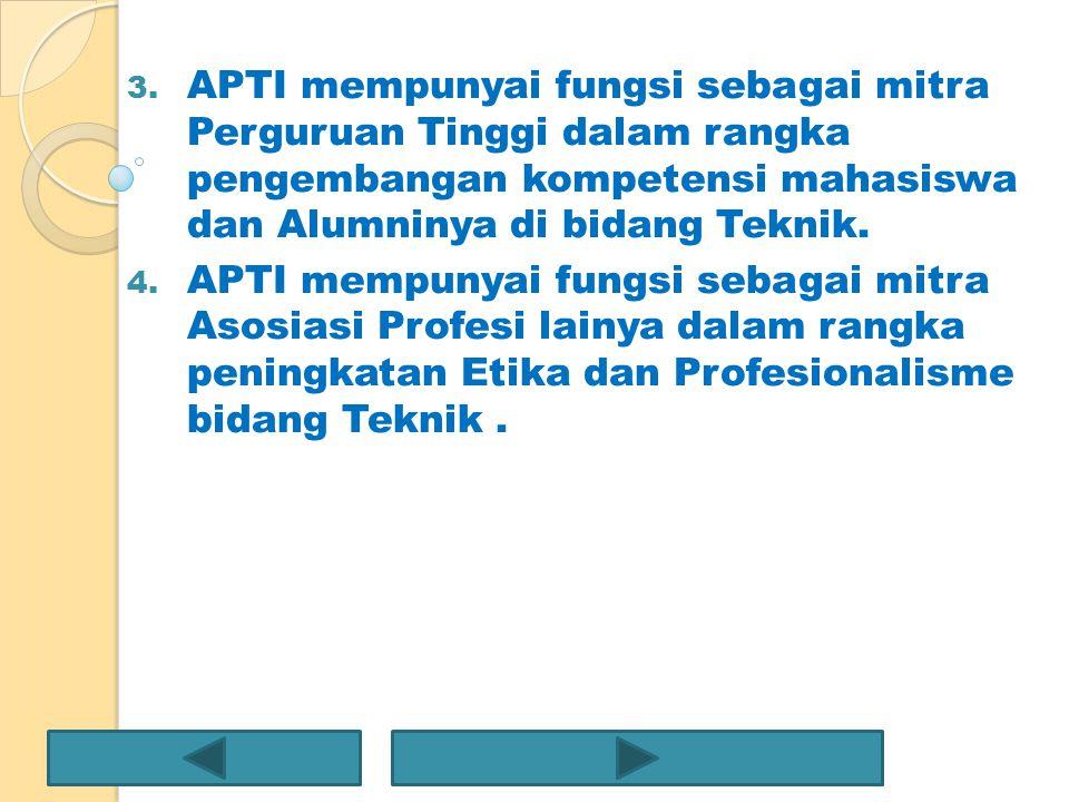 APTI mempunyai fungsi sebagai mitra Perguruan Tinggi dalam rangka pengembangan kompetensi mahasiswa dan Alumninya di bidang Teknik.