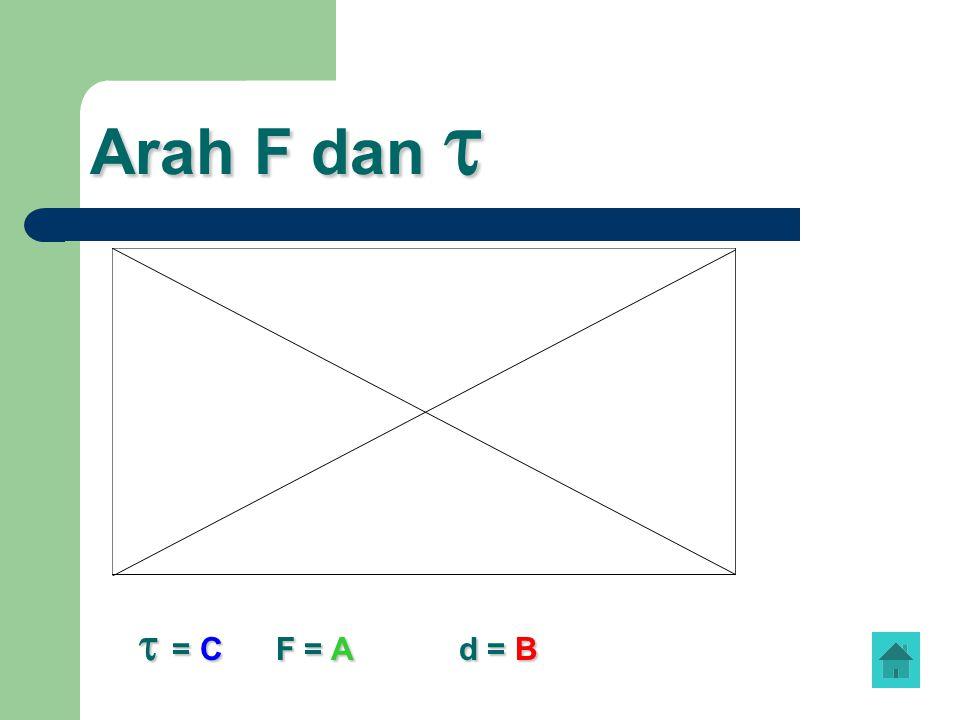 Arah F dan   = C F = A d = B