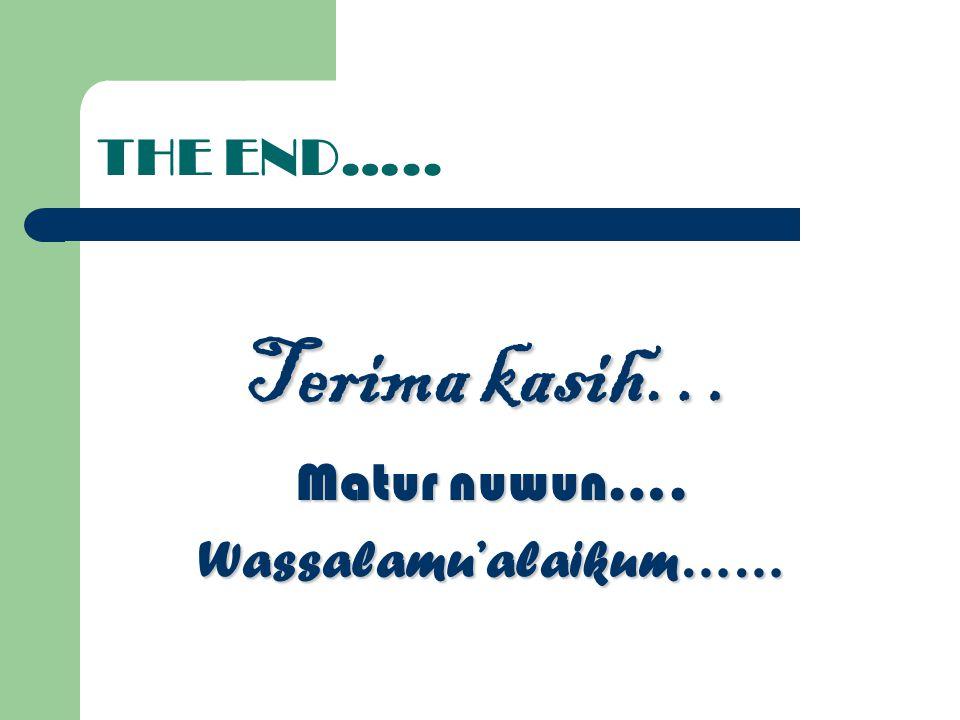 THE END….. Terima kasih… Matur nuwun…. Wassalamu'alaikum……