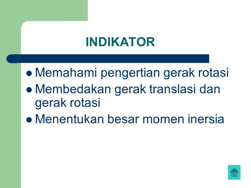 INDIKATOR Memahami pengertian gerak rotasi. Membedakan gerak translasi dan gerak rotasi.