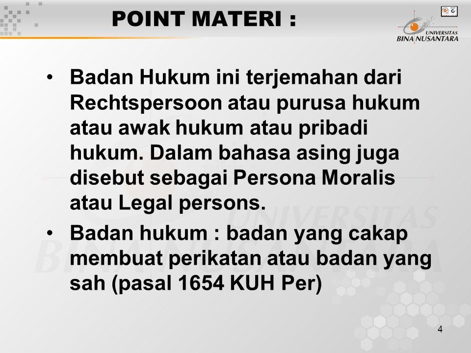 POINT MATERI :