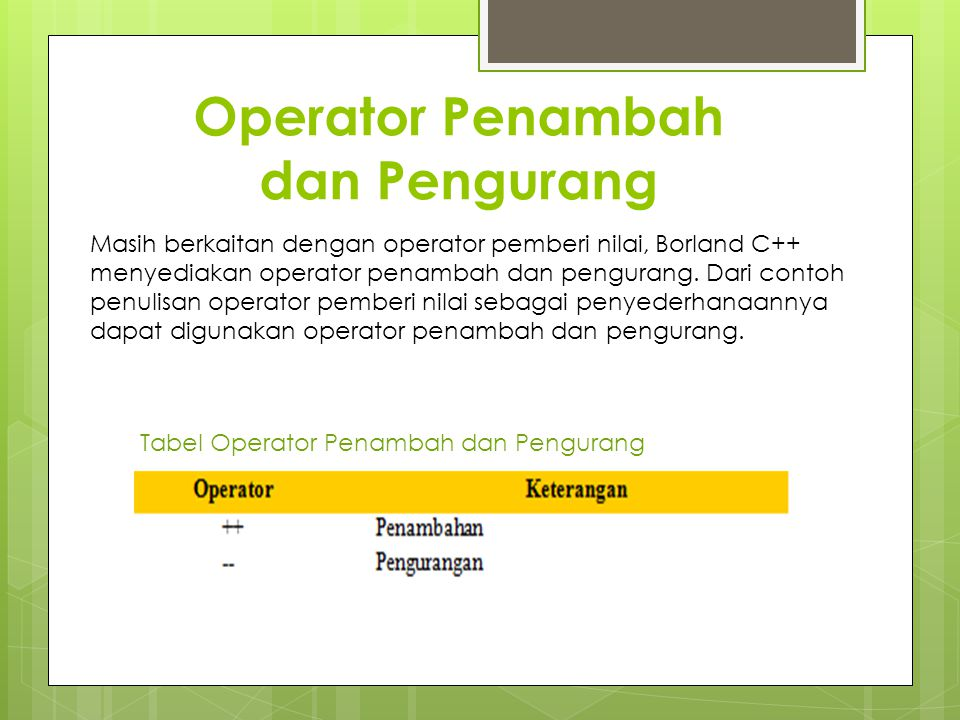 Operator Penambah dan Pengurang