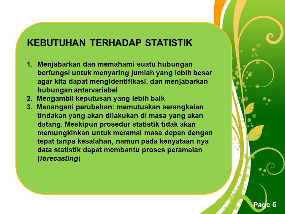 KEBUTUHAN TERHADAP STATISTIK