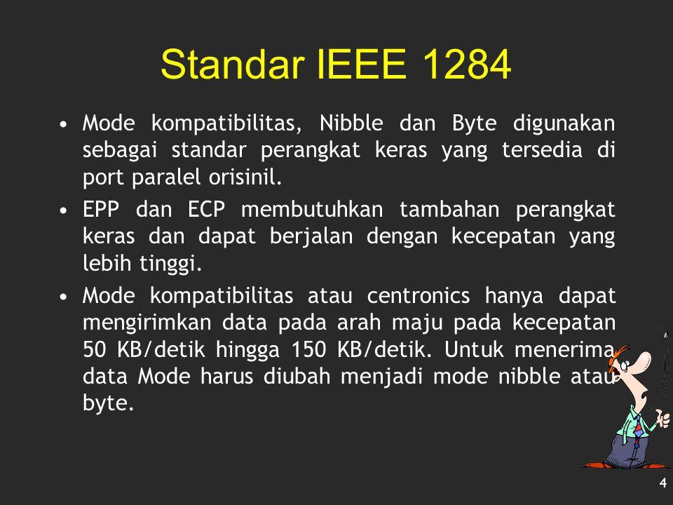 Standar IEEE 1284 Mode kompatibilitas, Nibble dan Byte digunakan sebagai standar perangkat keras yang tersedia di port paralel orisinil.