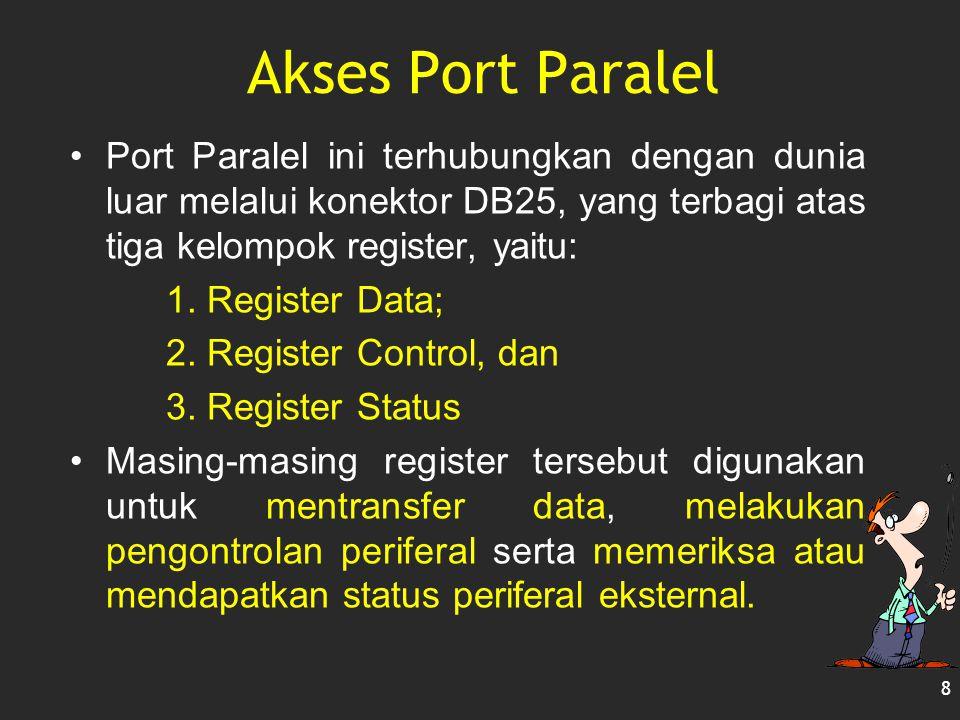 Akses Port Paralel Port Paralel ini terhubungkan dengan dunia luar melalui konektor DB25, yang terbagi atas tiga kelompok register, yaitu:
