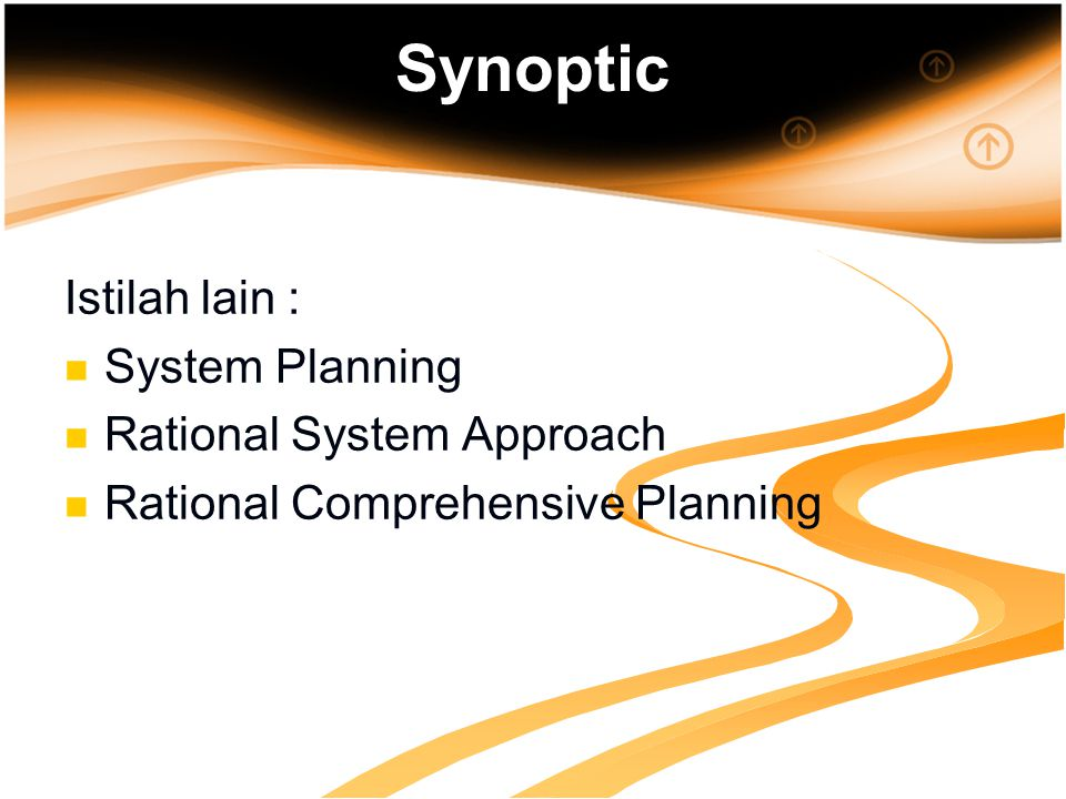 Synoptic Istilah lain : System Planning Rational System Approach