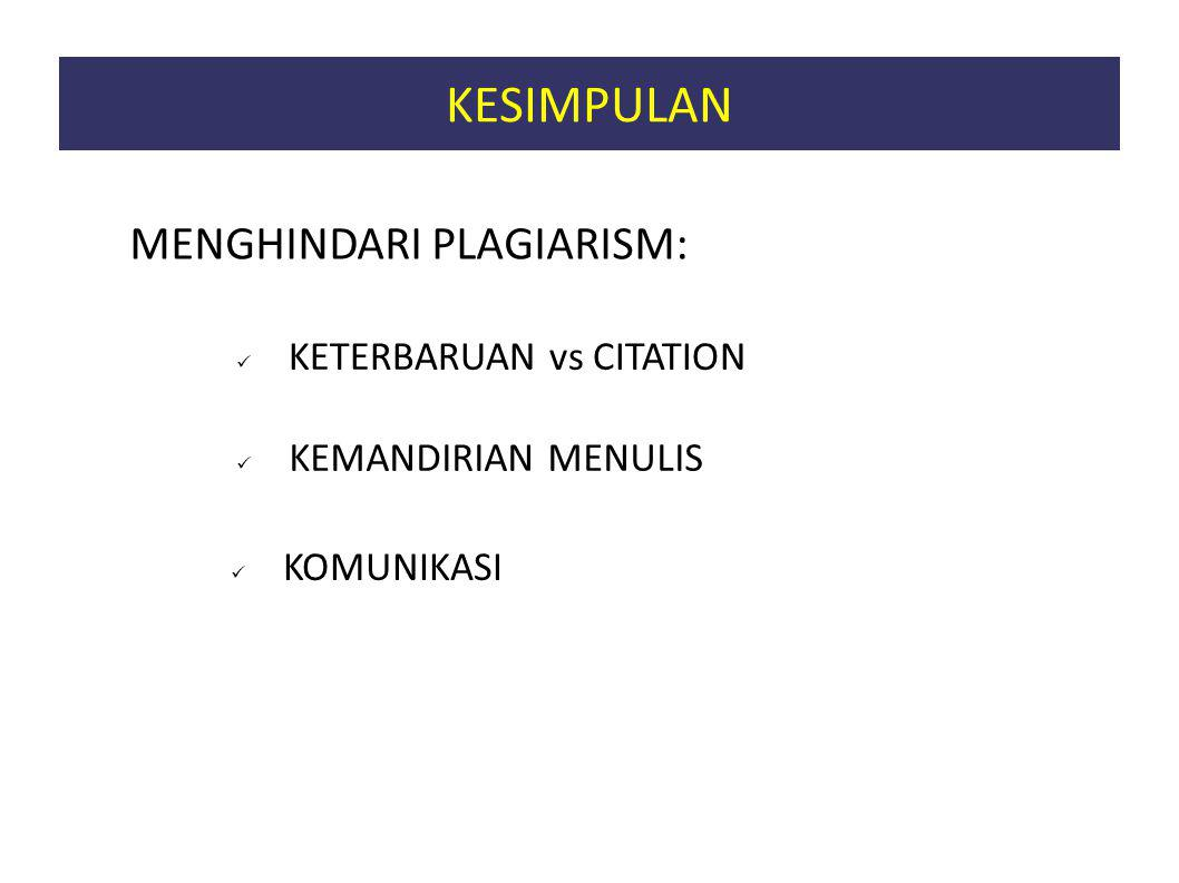 KETERBARUAN vs CITATION