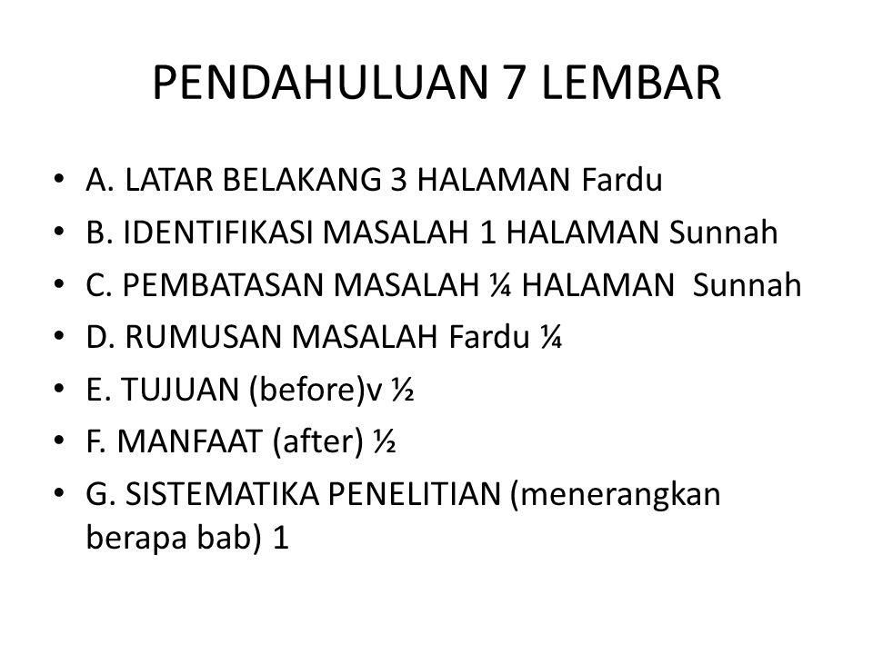 PENDAHULUAN 7 LEMBAR A. LATAR BELAKANG 3 HALAMAN Fardu