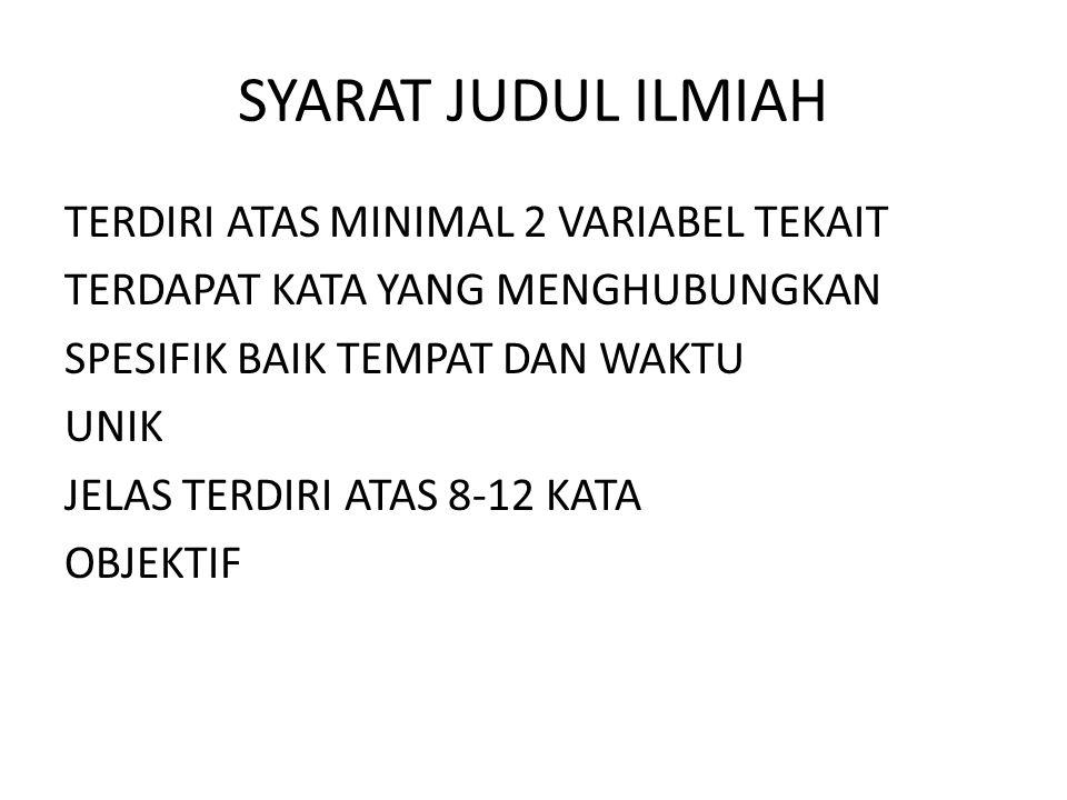 SYARAT JUDUL ILMIAH