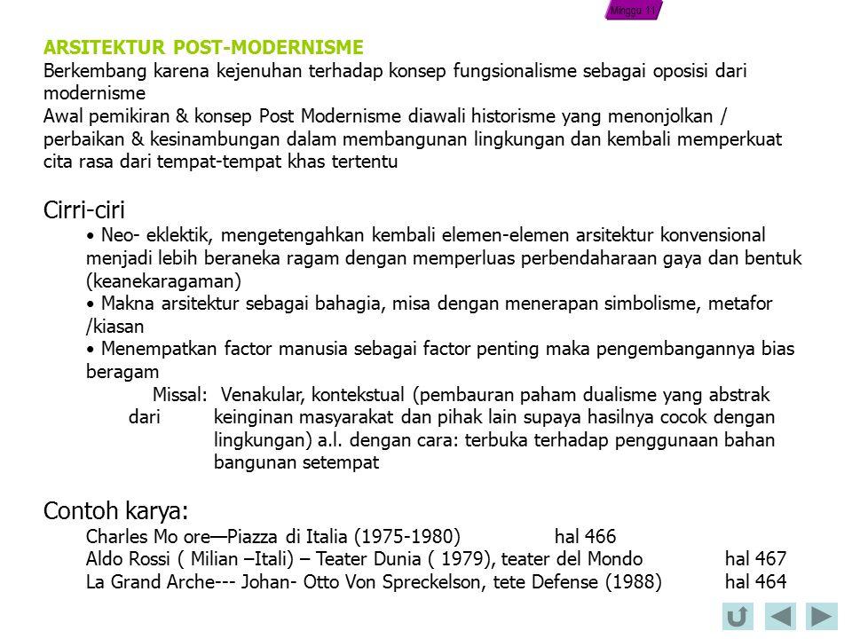 Cirri-ciri Contoh karya: ARSITEKTUR POST-MODERNISME