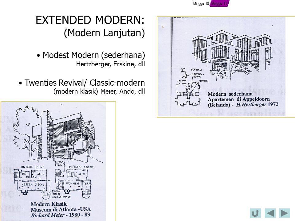 EXTENDED MODERN: (Modern Lanjutan) Modest Modern (sederhana)