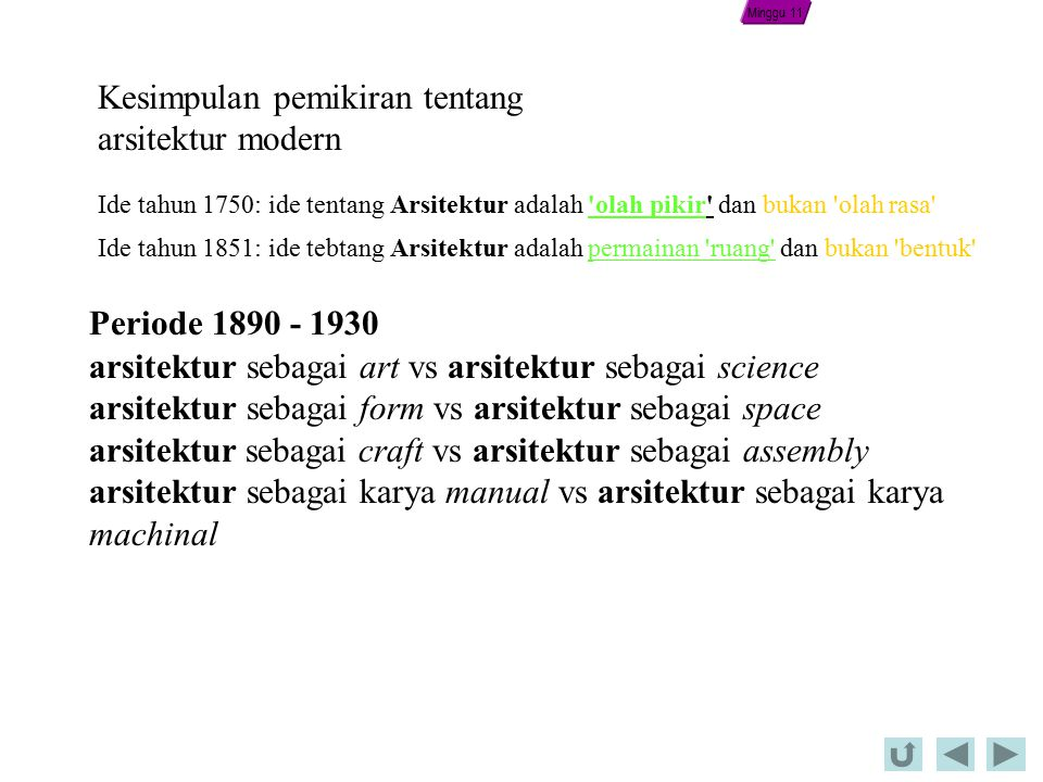 Kesimpulan pemikiran tentang arsitektur modern