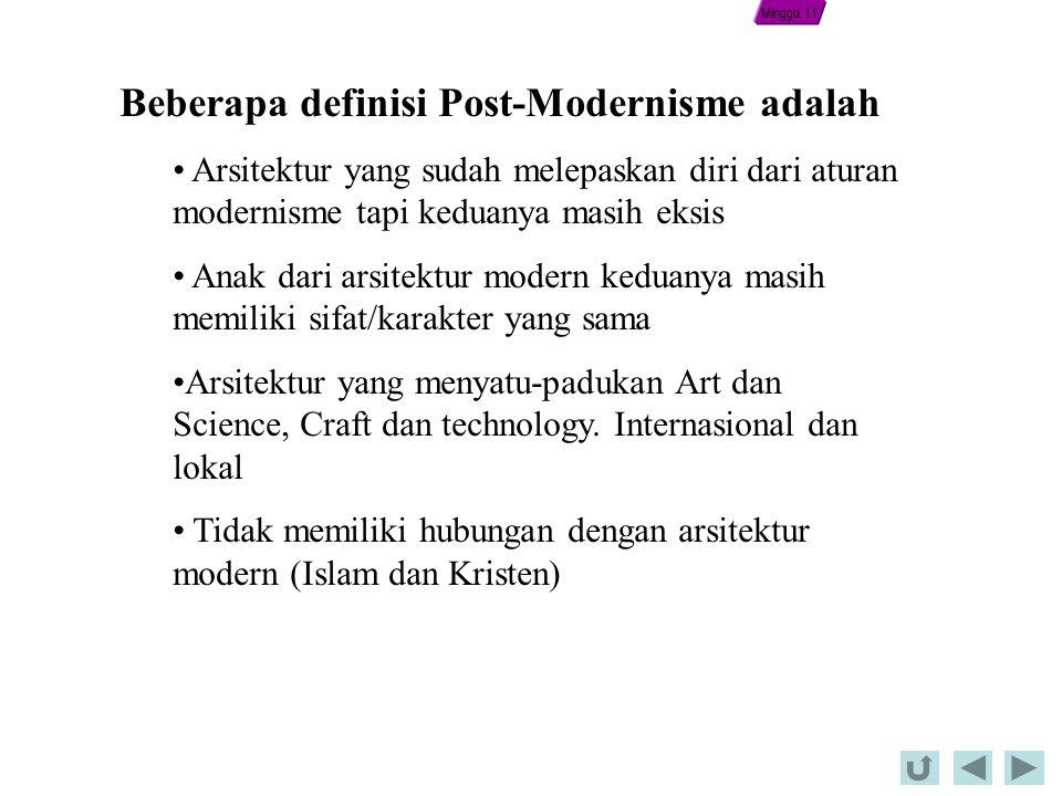 Beberapa definisi Post-Modernisme adalah