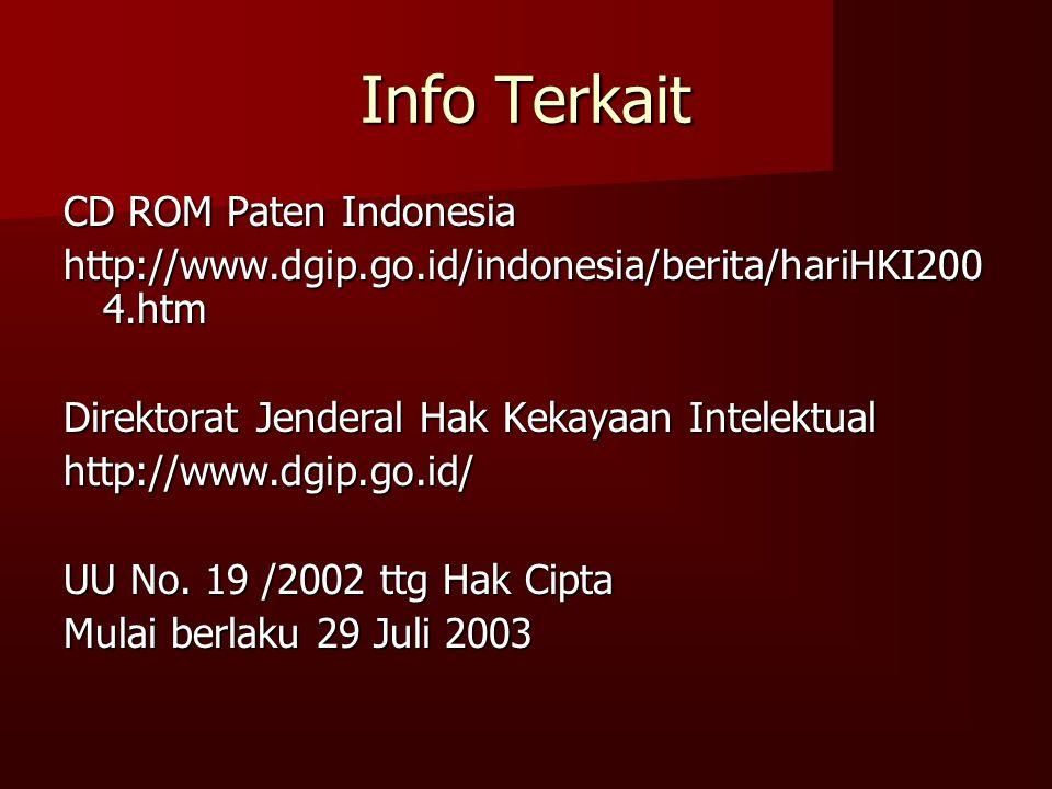 Info Terkait CD ROM Paten Indonesia