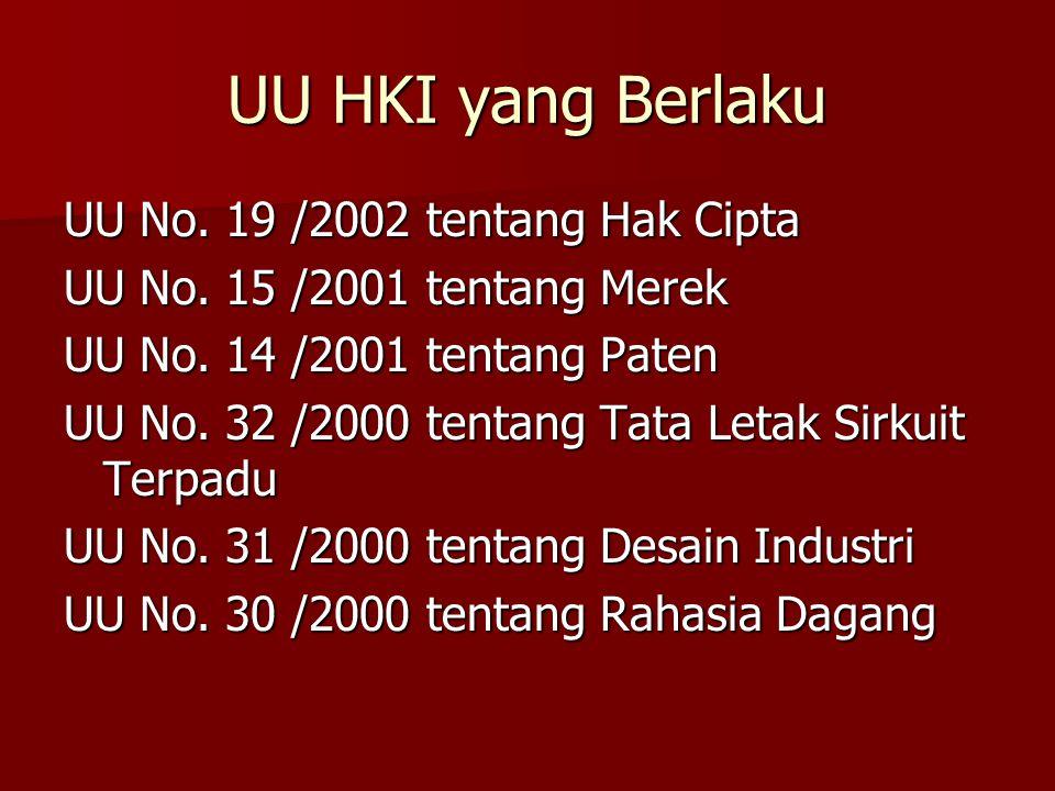UU HKI yang Berlaku UU No. 19 /2002 tentang Hak Cipta